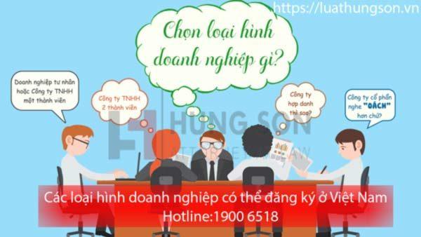Các loại hình doanh nghiệp có thể đăng ký ở Việt Nam