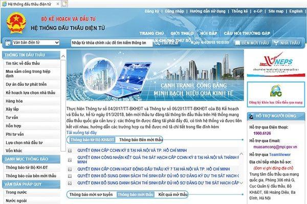 Đăng ký tư cách nhà thầu qua hệ thống mạng đấu thầu quốc gia