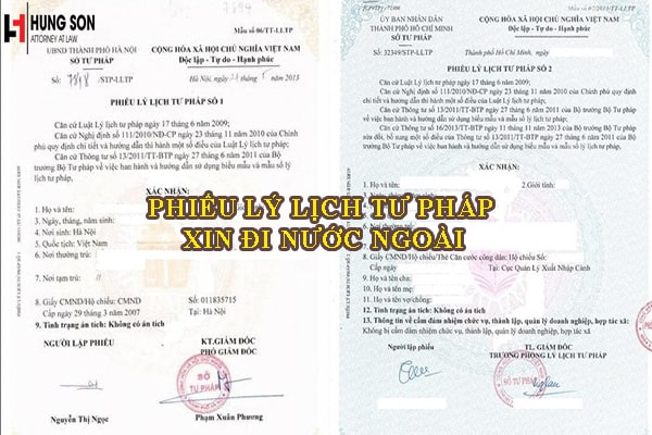 phiếu lý lịch tư pháp xin đi nước ngoài