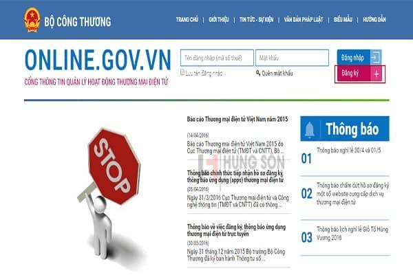 Hiện nay website nào phải thông báo với Bộ Công Thương?