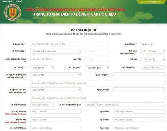 Tờ khai hộ chiếu online