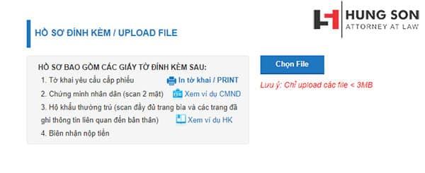 Thực hiện tải hồ sơ, các giấy tờ liên quan khi làm lý lịch tư pháp online