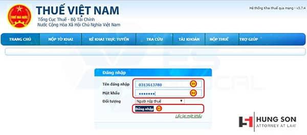 điền thông tin tài khoản đăng nhập