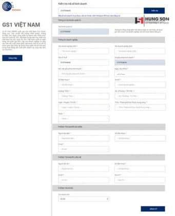 Thực hiện nhập thông tin doanh nghiệp để đăng ký tài khoản tạo mã số mã vạch online