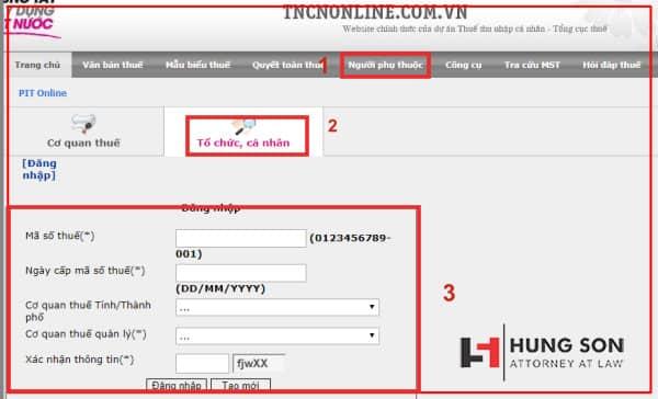 giao diện tra cứu mã số thuế trên TNCNonline