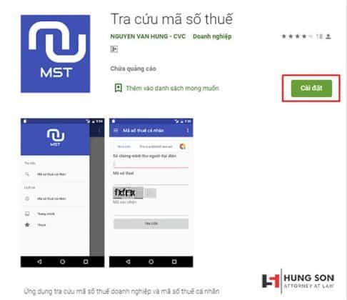 ứng dụng tra cứu mã số thuế đơn giản trên điện thoại