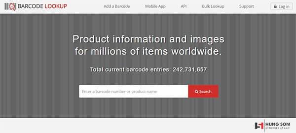 Kiểm tra mã vạch online bằng web barcodelookup
