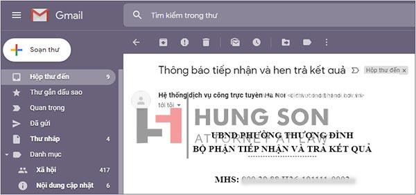 thông báo tiếp nhận hồ sơ và lịch hẹn lấy kết quả khi đăng ký kết hôn trực tuyến được báo qua mail