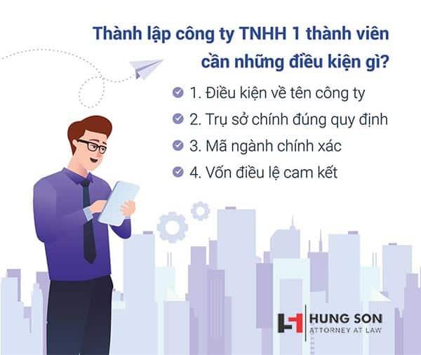 điều kiện để thành lập công ty TNHH 1 thành viên