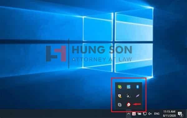 Máy tính nhận chữ ký số khi hiện biểu tượng chữ ký số tại góc phải màn hình