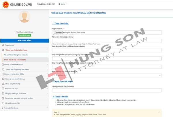 nhập thông tin website và upload các giấy từ đính kèm