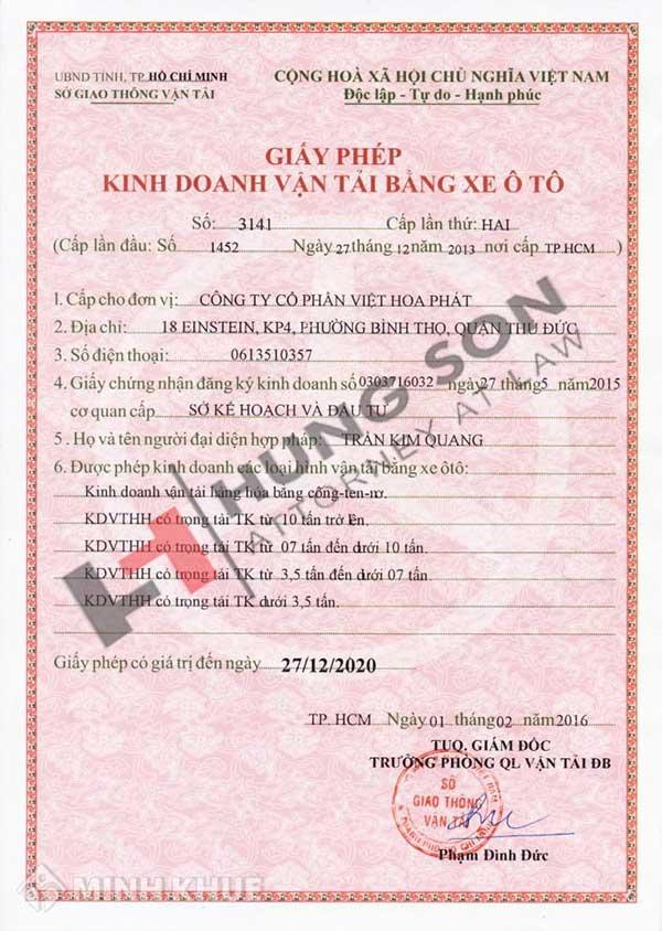 mẫu giấy phép kinh doanh vận tải bằng xe ô tô