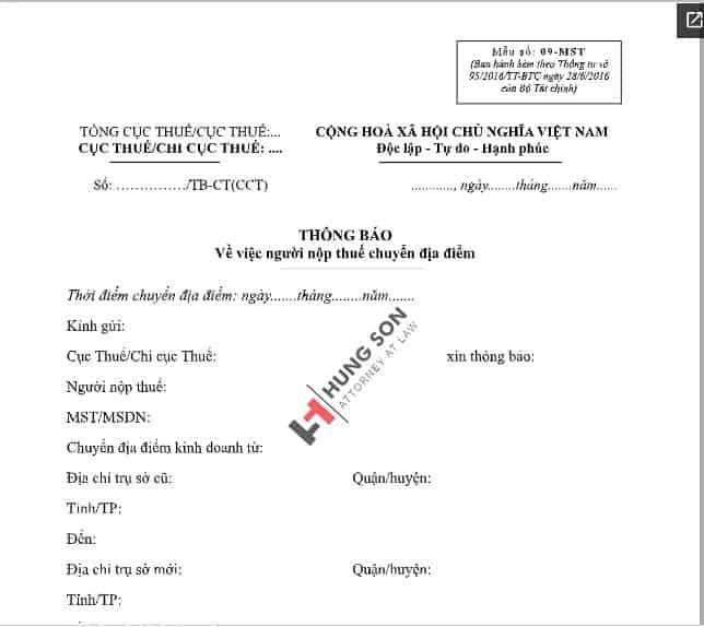 mẫu thông báo thay đổi địa chỉ công ty gửi cơ quan thuế