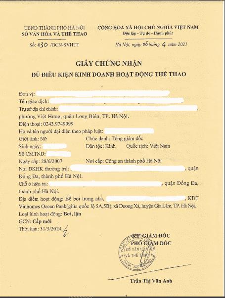 giấy phép kinh doanh hoạt động bể bơi