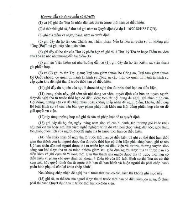 Hướng dẫn về việc tha tù trước thời hạn có điều kiện tại biểu mẫu số 1