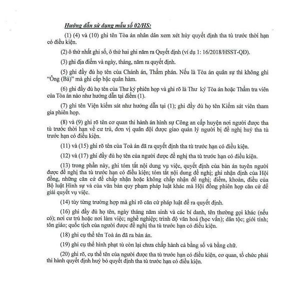 Cách sử dụng biểu mẫu tha tù trước thời hạn có điều kiện số 2