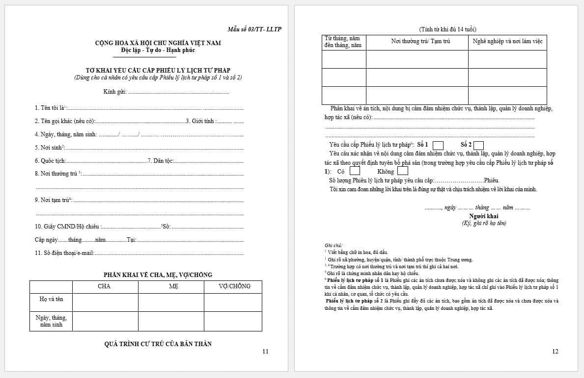 tờ khai yêu cầu cấp phiếu lý lịch tư pháp